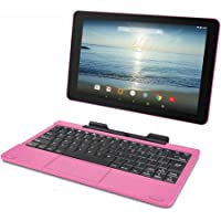 RCA Viking Pro 10.1 2-in-1 Tablet 32GB Quad Core Pink Laptop Computer with Touchscreen and Detachable Keyboard Google Android 5.0 Lollipop Pink Pink