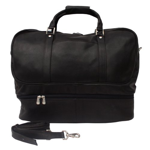 Piel Leather False-Bottom Sports Bag, Black, One Size by Piel Leather