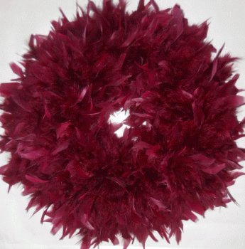 Fluffy Burgundy Chandelle Feather Wreath...Gorgeous Home Accent Wreath!]()
