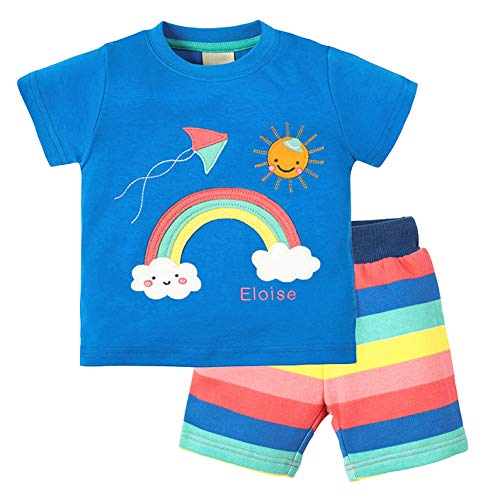 Girl/Boys Short Set Cute Rainbow Printed Pajamas Shirt Short 2pcs Set Fashion Outfits Set