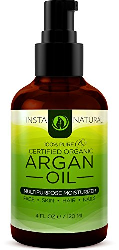 InstaNatural organisches Arganoel - Für Gesicht, Haare, Körper und Nägel - Reines und kaltgepresstes Öl aus Marokko - Für Akne, Schwangerschaftsstreifen, trockene Kopfhaut, Nagelhäutchen und Feuchtigkeitsspender für die Haut - Premium und beruhigender Feuchtigkeitsspender - 4 OZ