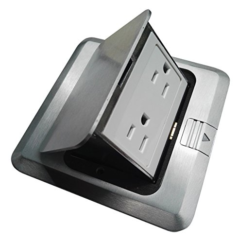 (Pop Up Floor Box Countertop Box w/15A with Duplex Receptacle - Brushed-Stainless Finish)