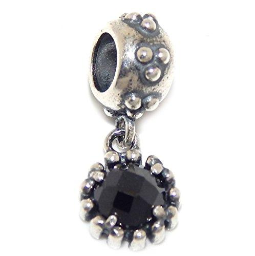 PJEWELRY 925 Solid Sterling Silver Dangling Circular Black Crystal Charm - Circular Charm Crystal