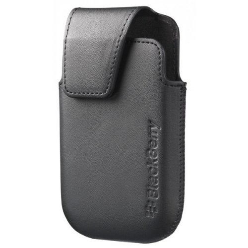 BlackBerry Curve 9310/9320 Premium Leather Pouch Holster Case With Belt Clip To Carry- Black