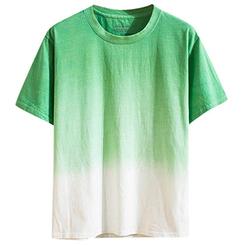 JJLIKER Mens Gradient Color T-Shirt Short Sleeve Tops Hipster Summer Casual Jersey Crewneck Tunic Tees Green