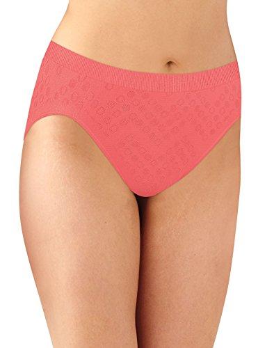 High Cut Panty Brief (Bali Women's Comfort Revolution Seamless Hi-Cut Brief Panty, Coral Punch Dot, 9)