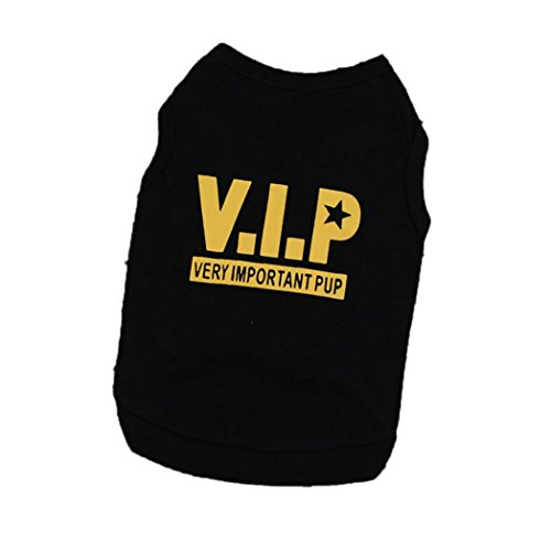 Howstar Pet Shirt, VIP Printed T Shirts Dogs Summer Vest Puppy Pet Clothing Apparel (M, Black) ()