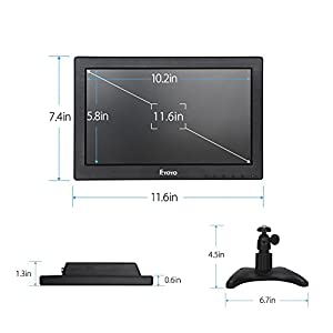 "Eyoyo 12"" 16:9 HD 1366x768p 600:1 160 Degree TFT LCD Monitor With HDMI VGA BNC AV Audio Speaker For DSLR PC CCTV Camera DVD Car Backup"