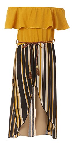 BluNight Collection Big Girls 2 Ways Ruffle Hi Lo Maxi Skirt Romper Belt Jumpsuit Romper USA Mustard 12 (2J1K42S) by BluNight Collection