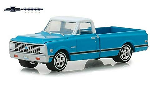 1972 Chevrolet C-10 Pickup Truck Blue w/White Top and Black Stripes 100 Years Anniversary of Chevrolet Trucks 1/64 Diecast Car Greenlight 27970 C 64 Scale Diecast Truck Car