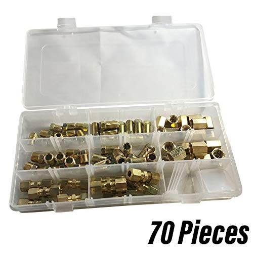 """ASD 3/16"""" and 1/4"""" Brakeline fittings kit (nuts, unions, compression fittings) 70 Pieces"""