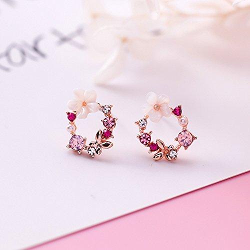 High-Season MENGJIQIAO 2018 New Colorful Rhinestone Wreath Stud Earrings For Women Cute Butterfly Shell Flower Circle Boucle D