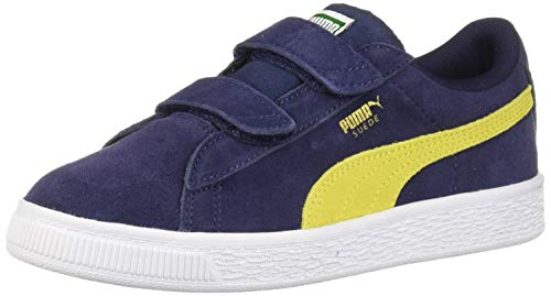 (PUMA Unisex Suede Classic Velcro Sneaker, Peacoat-Blazing Yellow, 2 M US Little Kid)