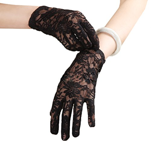 Linabridal Women's Vintage Sheer Floral Lace Wrist Length Wedding Gloves YT026WT-Black -