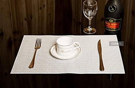 Fabulous Amazon Com Uxoo White Woven Placemat Set Of 2Decoration Lamtechconsult Wood Chair Design Ideas Lamtechconsultcom