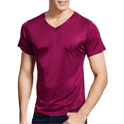 - Manka Vesa Men's 100% Pure Silk Knitted T-Shirt Undershirts Slim Casual Tee Tops Purple