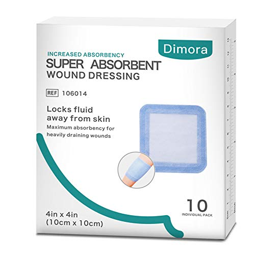 Dimora Super Absorbent Wound Dressing, with Non-Adherent Contact Layer, 4'' x 4'', 10 Count