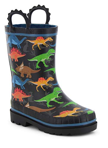 Western Chief Boys' Waterproof Printed Rain Boot with Easy Pull On Handles, Dino World, 7 Toddler
