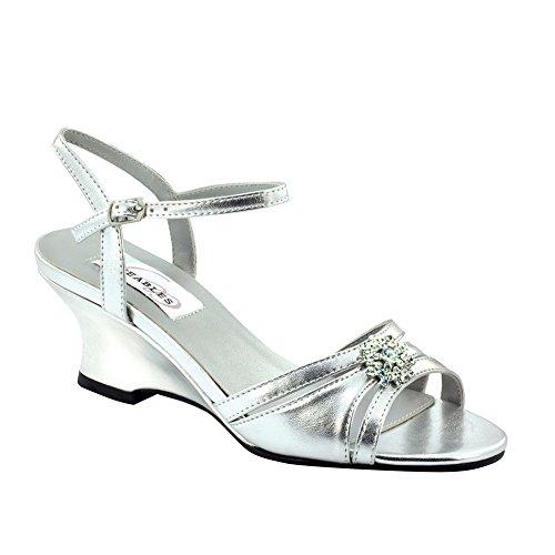 (Dyeables Women's Cassie Manmade Platform Sandal,Silver Metallic,9.5 D US)