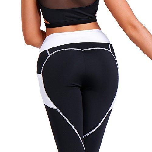 Fittoo Women's Heart Shape Yoga Pants Sport Pants Workout Leggings Sexy High Waist Trousers B&W(S)