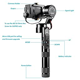 Neewer Z-One-Pro 3-Axis High-precision Handheld Steady Gimbal PTZ Camera Mount Built-in Independent IMU Module Stabilizer for Gopro Hero 4 Sliver Black 3+ 3 2 1