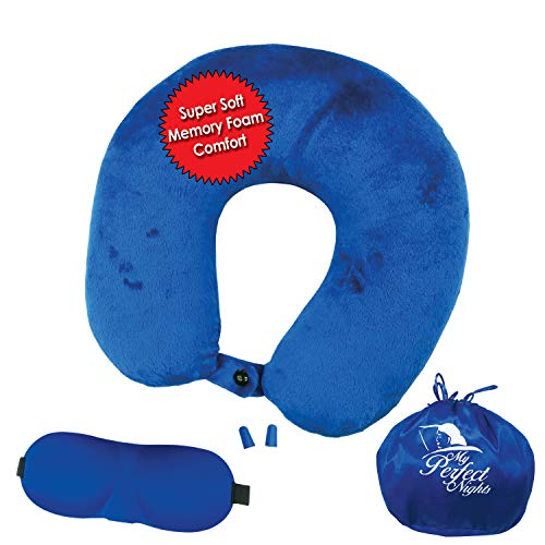 My Perfect Nights Premium Travel Neck Pillow Kit Large Super Soft Memory Foam with Washable Cover Includes Ear Plugs and Sleep Mask