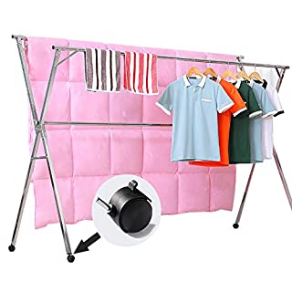 Reliancer Free Installed Clothes Drying Rack Stainless Steel Foldable Rack Hanger Space Saving Retractable 43.3-59 inch Clothes Rack Adjustable Clothes Hanger Rolling Rack with 4 Casters & 10 Hooks