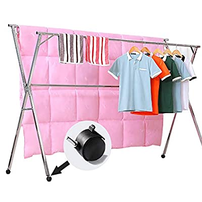 Reliancer Free Installed Clothes Drying Rack Stainless Steel Foldable Rack Hanger Space Saving Retractable 43.3-59 inch Clothes Rack Adjustable Clothes Hanger Rolling Rack with 4 Casters & 10 Hooks - 【All Stainless Steel Construction】The material including the fastenings is rust-proof stainless steel, perfect for indoor or outdoor drying, will not rust even under rainy environment 【Extensible Horizontal Rods】Both rods can be extended from 43.3'' to 59'', the max size is 59x30x52 inch, add more room for longer garments like pants and long dresses 【Free Installation and Save Space】Retractable and foldable, easy to open and fold for compact storage to save space, no need tools to install. The folding size is just 59x4.72x3.54 inch. You can just put it in any small corner when you do not need - laundry-room, entryway-laundry-room, drying-racks - 41A70 94Z0L. SS400  -