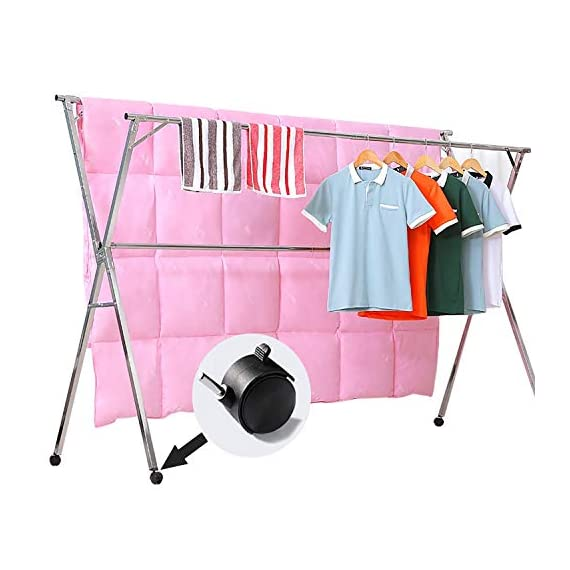 Reliancer Free Installed Clothes Drying Rack Stainless Steel Foldable Rack Hanger Space Saving Retractable 43.3-59 inch Clothes Rack Adjustable Clothes Hanger Rolling Rack with 4 Casters & 10 Hooks - 【All Stainless Steel Construction】The material including the fastenings is rust-proof stainless steel, perfect for indoor or outdoor drying, will not rust even under rainy environment 【Extensible Horizontal Rods】Both rods can be extended from 43.3'' to 59'', the max size is 59x30x52 inch, add more room for longer garments like pants and long dresses 【Free Installation and Save Space】Retractable and foldable, easy to open and fold for compact storage to save space, no need tools to install. The folding size is just 59x4.72x3.54 inch. You can just put it in any small corner when you do not need - laundry-room, entryway-laundry-room, drying-racks - 41A70 94Z0L. SS570  -