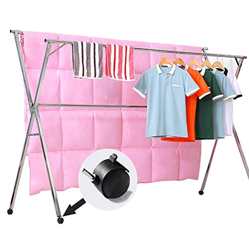 - Reliancer Free Installed Stainless Steel Clothes Drying Rack Foldable Space Saving Retractable Rack Hanger Heavy duty 43.3-59 inches