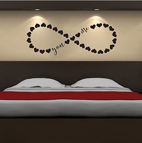 Infinity Hearts You and Me Vinyl Wall Words Decal Sticker Graphic
