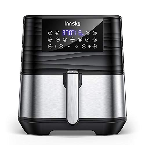 Innsky Air Fryer 5.8QT, 1700W Stainless Steel Air Fryer Oven for Roasting, High-Tech Cooking appliances & Oilless Cooker…