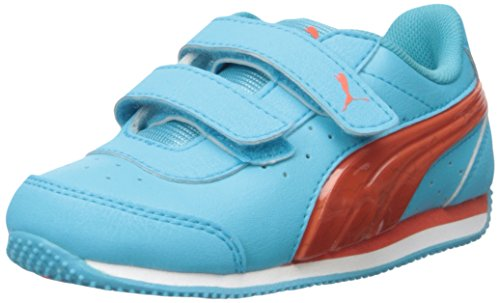 (PUMA Kids Speed Light UP V INF Sneaker, Blue Atoll/Mandarin, 7 M US Toddler)