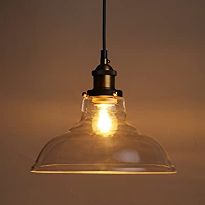 ALHAKIN Industrial Edison Vintage Style 1-light Pendant Lamp Glass Bowl Hanging Light Fashion Creative Lighting(Without bulb)