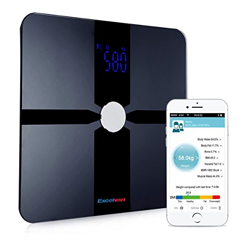 Excelvan Bluetooth Body Fat Smart Weight Scale with Fitness App & 8 Parameters Body Composition Monitor with Extra Large Display (400 lb)