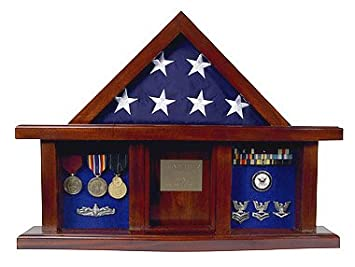 Military Medal Shadow Box with Display Case for 3 x 5ft Flag – Felt in Black, Blue, or Red Black Selected