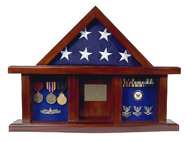 Military-Medal-Shadow-Box-with-Display-Case-for-3-x-5ft-Flag-Felt-in-Black-Blue-or-Red-Black-Selected