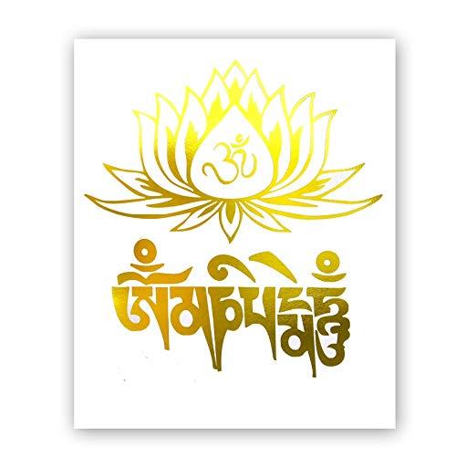 (Lotus Flower Gold Foil Print Buddhism Poster Typographic Yoga Room Symbol Cardstock Art Print Zen Poster Hindu Home Decor Wall Art (8 X 10 inch, Set of 1, UNframed))