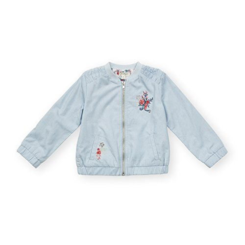 Jessica Simpson Girl's Zip Ruched Shoulders Elastic Wrists Pockets Bomber Jacket Light Wash Denim 24 Months (Ruched Pocket Jacket)