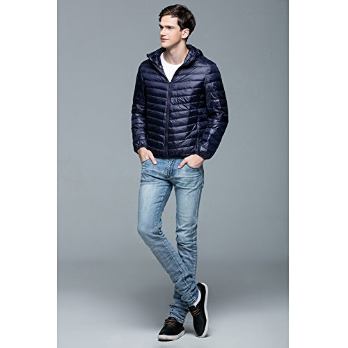 Men's Lightweight Jacket Puffer Packable YYF Ultra Coat Winter Down Hooded Navy AwzzIqZd