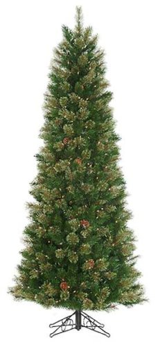 Tree Christmas Good Tidings (Good Tidings 6-1/2-Foot Artificial Royal Cashmere Pre-Lit Pencil Christmas Tree)