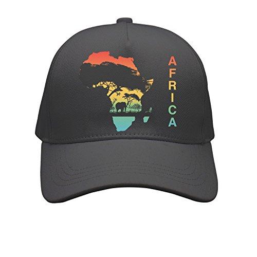 OKSDLK Africa Map Silhouette Wildlife Elephant Snapback Hats Dad Hats Black by OKSDLK