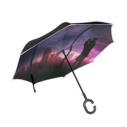 Reverse Umbrella Kiss Romantic Couple Love Wallpaper Inverted Umbrella Reversible for Golf Car Travel Rain Outdoor Black