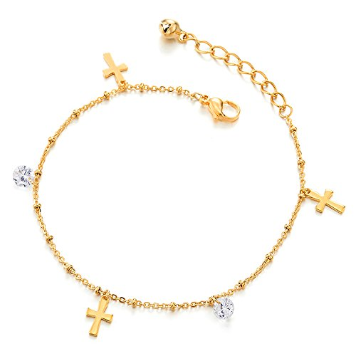 COOLSTEELANDBEYOND Stainless Steel Gold Anklet Bracelet with Dangling Charms of Cross, Cubic Zirconia and Jingle Bell by COOLSTEELANDBEYOND