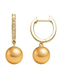 Golden South Sea Cultured Pearl Diamond Hoop Earrings AAA Quality 14k Yellow Gold