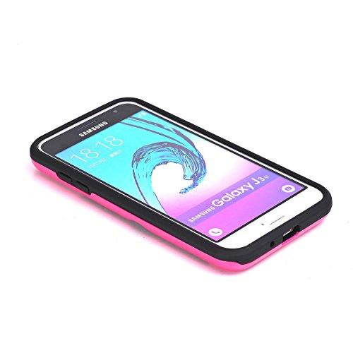 Samsung Galaxy J3 (2016) J310 Funda Case, TOTOOSE Patrón de tela Escocesa Caja del teléfono Celular Antideslizante Protector Shell con Ranuras para Tarjetas para Samsung Galaxy J3 (2016) J310 rojo Rosa caliente
