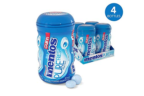 Mentos Pure Fresh Sugar-Free Chewing Gum with Xylitol, Fresh Mint, 50 Piece Bottle (Pack of 4)