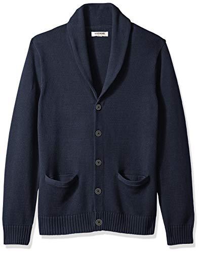 Amazon Brand - Goodthreads Men's Soft Cotton Shawl Cardigan Sweater, Solid Navy, Large