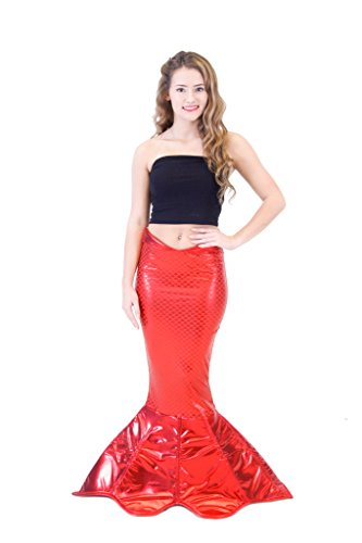 Pirate Mermaid Costumes (Magical Mermaid Red Sparkle Tail Deluxe Costume (XXL))