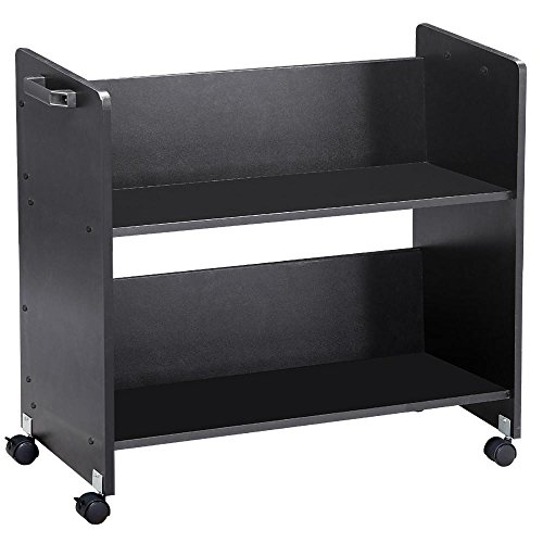 go2buy Black Movable Book Cart Library Cart Pew Cart With 2 Heavy Duty Locking Wheels (Rolling Bookshelf)